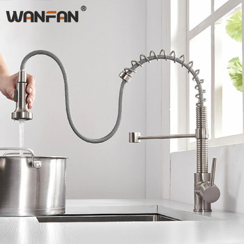 цена на OWOFAN Modern Polished Brushed Nickel Brass Kitchen Sink Faucet Pull Out Single Handle Swivel Spout Vessel Sink Mixer Tap N22207