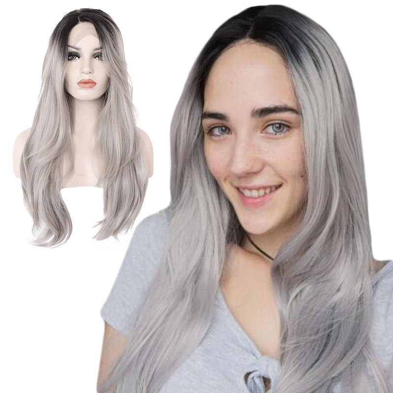 Anogol Middle Part Silver Grey Ombre Black Roots Long Natural Wave Synthetic Lace Front Wig For Women High Temperature Fiber