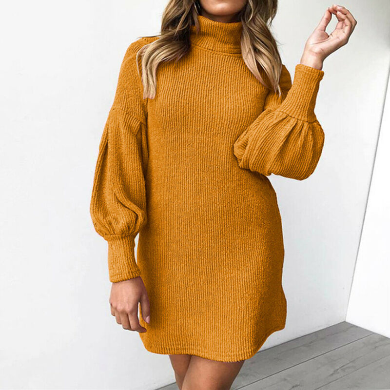 3 Colors Hot Fashion Womens Autumn Winter <font><b>Turtle</b></font> <font><b>Neck</b></font> Long Sleeve <font><b>Dress</b></font> Female Ladies Casual Loose Solid Color Pullover image