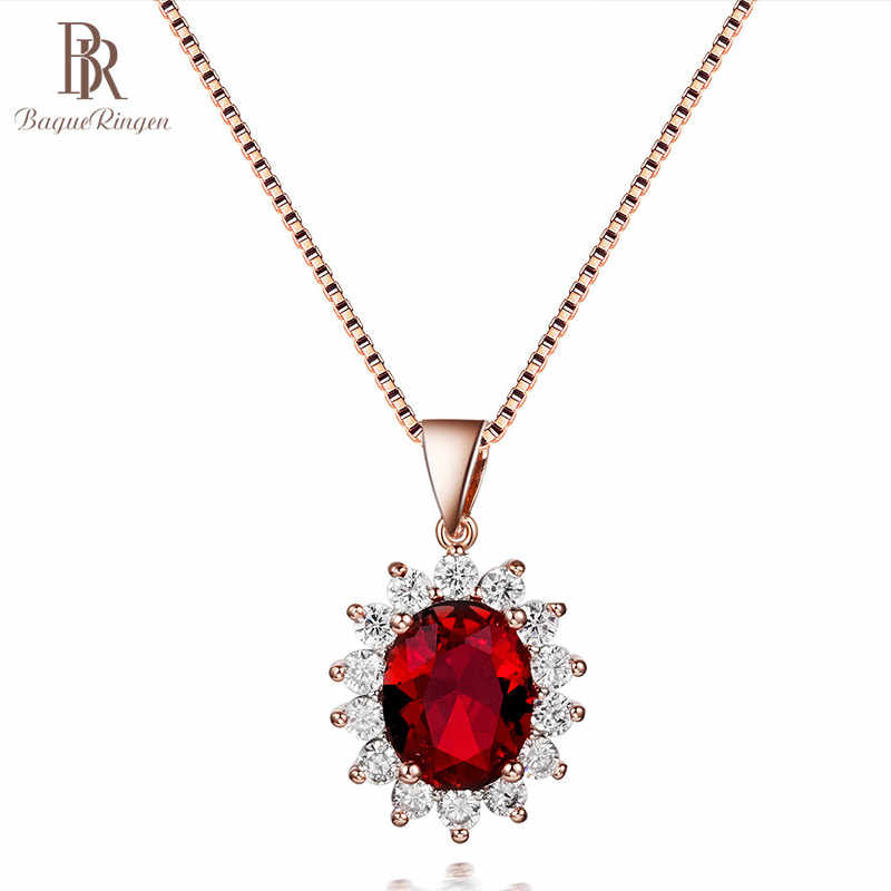 Bague Ringen Oval Gemstones Silver 925 Jewelry Elegant Luxury Ruby Necklace for Women Rose Gold Color Princess Wedding Wholesale