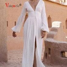 2020 New French Retro V-neck Lantern Sleeve Long Dress Waist Pleated Loose Temperament Dress white dress willon green dress hot