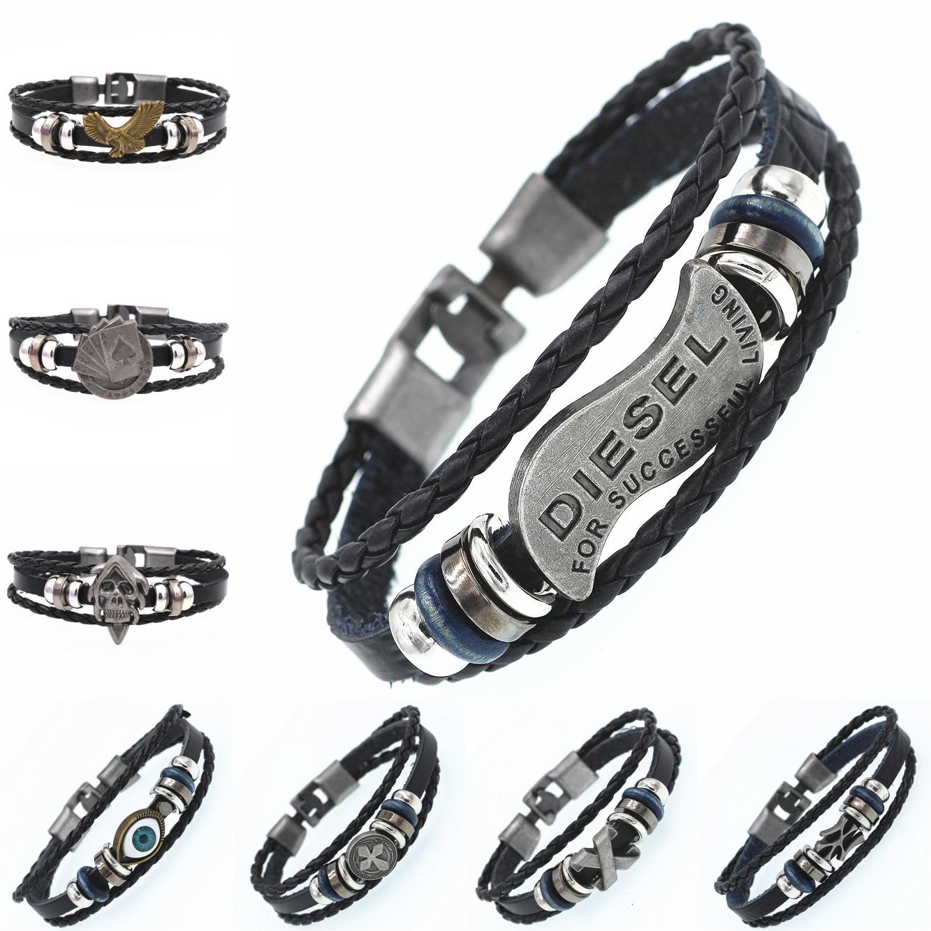 DGW Braided Wrap Leather Bracelets for Men Vintage Life Tree Rudder Charm Wood Beads Ethnic Tribal Wristbands