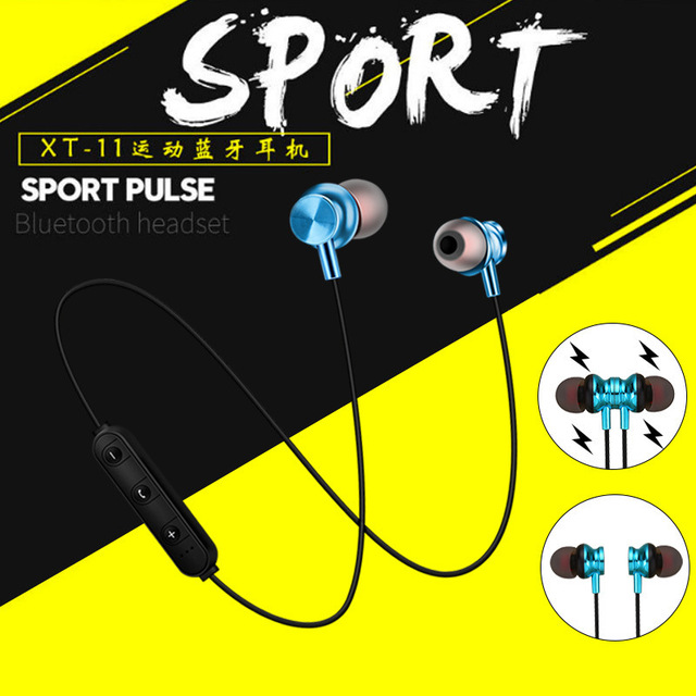 Sports magnet Stereo Bluetooth Earphone With HD Mic Wireless Sport Headset Earbuds For Android IOS 4
