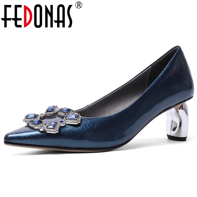 FEDONAS 2020 Spring Summer Brand Strange Heels Dancing Shoes Woman Cow Patent Leather Crystal Women Pumps Wedding Party Shoes