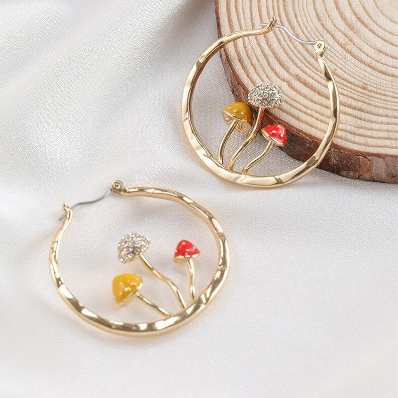 Makersland уникальные серьги для женщин милые серьги-подвески золотого цвета в форме трех грибов 2020 новый дизайн модные ювелирные изделия для уш...
