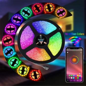 USB Bluetooth Led Strip Light RGB 5050SMD 5V Flexible Ribbon 1M 2M 3M 4M 5M TV Backlight Light Strips Waterproof Neon Lamp Decor Home & Living