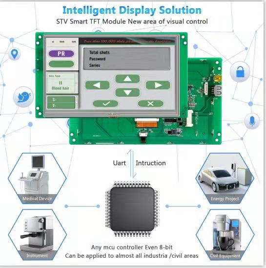 STONE 8.0 Inch HMI TFT LCD Display Panel With UART Interface+CPU+GUI Design