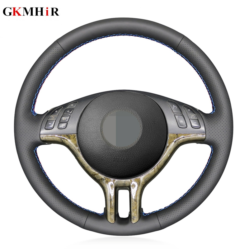 Black Artificial Leather DIY Hand-stitched Car Steering Wheel Cover for BMW 318i 325i 330ci E39 E46 X5 E53 Z3 E36/7 E36/8(China)