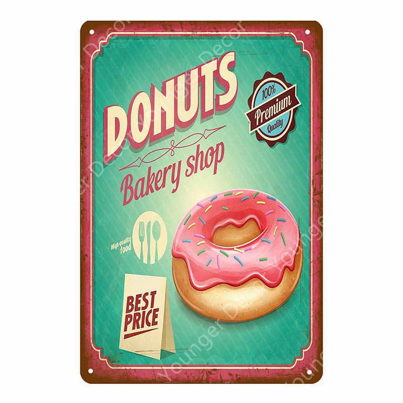 Donuts sandwichs helado Vintage Metal signo cocina café panadería tienda placa decorativa pared placa para pintura decoración arte YJ079