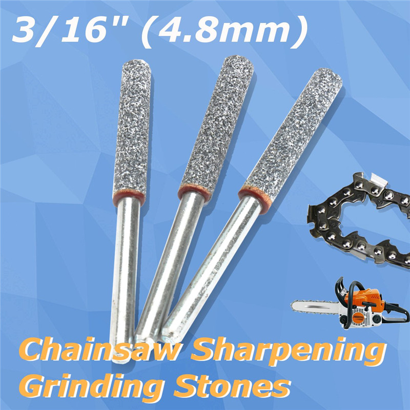 "5pc 4.8mm 3//16/"" Chainsaw Sharpener Burr Grinding Stone File Chain Saw Sharpening"