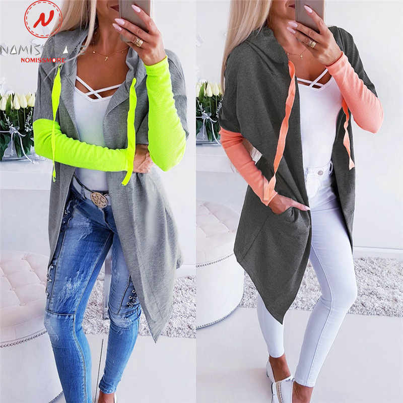 Vrouwen Hoodies Patchwork Coloe Bijpassende Ontwerp Hooded Decor V-hals Lange Mouwen Top Fashion Lady Herfst Streetwear Shirts