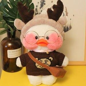 Розовая плюшевая игрушка LaLafanfan Kawaii Cafe Mimi желтая утка, 30 см, милая мягкая кукла, мягкие куклы-животные, детские игрушки, подарок на день рождения для девочки