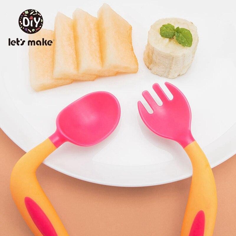 Let's Make 2Pcs Bendable Baby Spoon Fork Set With Storage Box Flexible Infant Learning Tableware Flatware Utensils Kid Tableware
