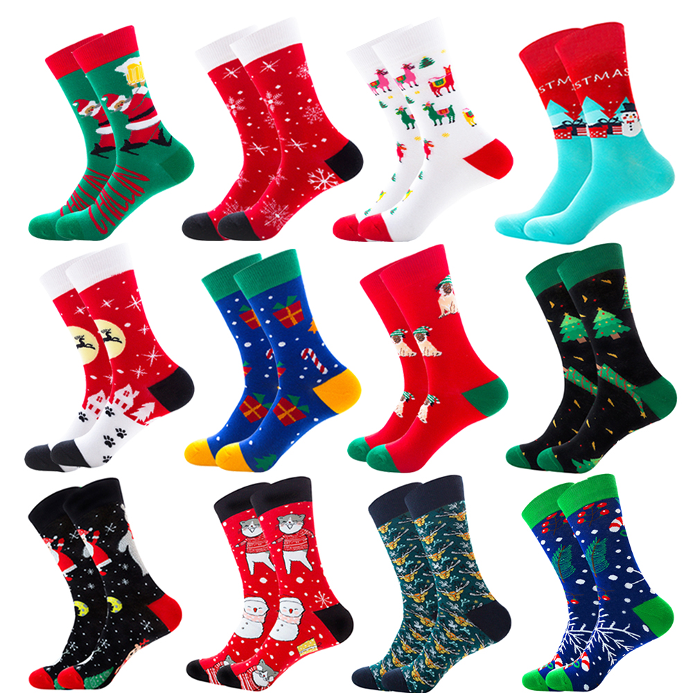 Quaslover 1Pair Men Colorful Socks Christmas Cotton Compression Sock Winter Happy Animal Socks Fashion Gifts For Men And Kids