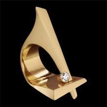 RongXing Mini redondo blanco circón anillos de compromiso para Mujeres Hombres moda amarillo oro lleno de piedra de cristal joyería geométrica