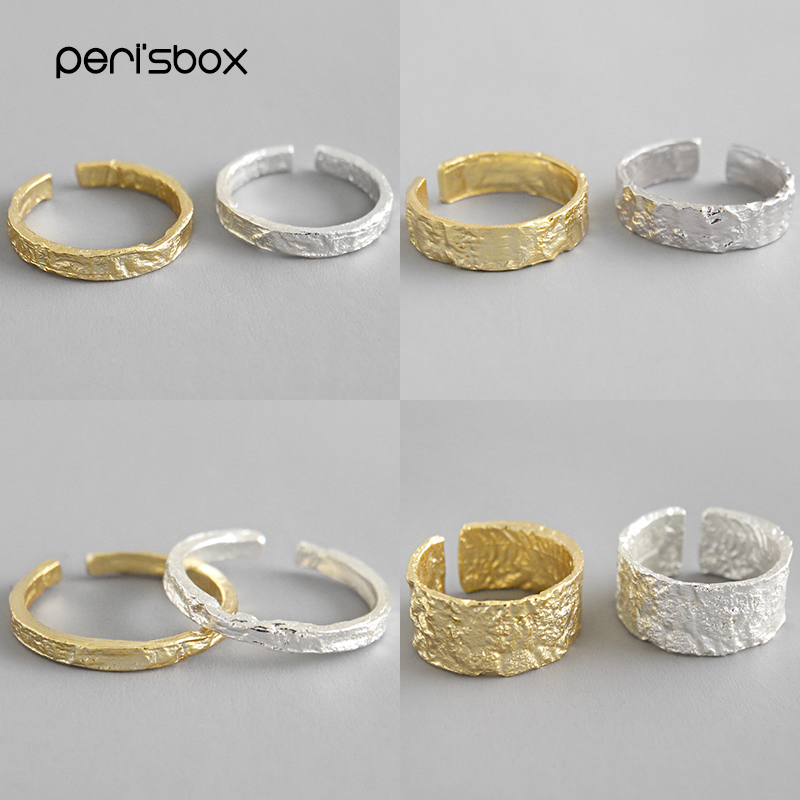 Peri'sBox 925 Sterling Silver Crumpled Tin Foil Texture Ring Wide And Thin Irregular Rings Minimalist Ring For Women Adjustable