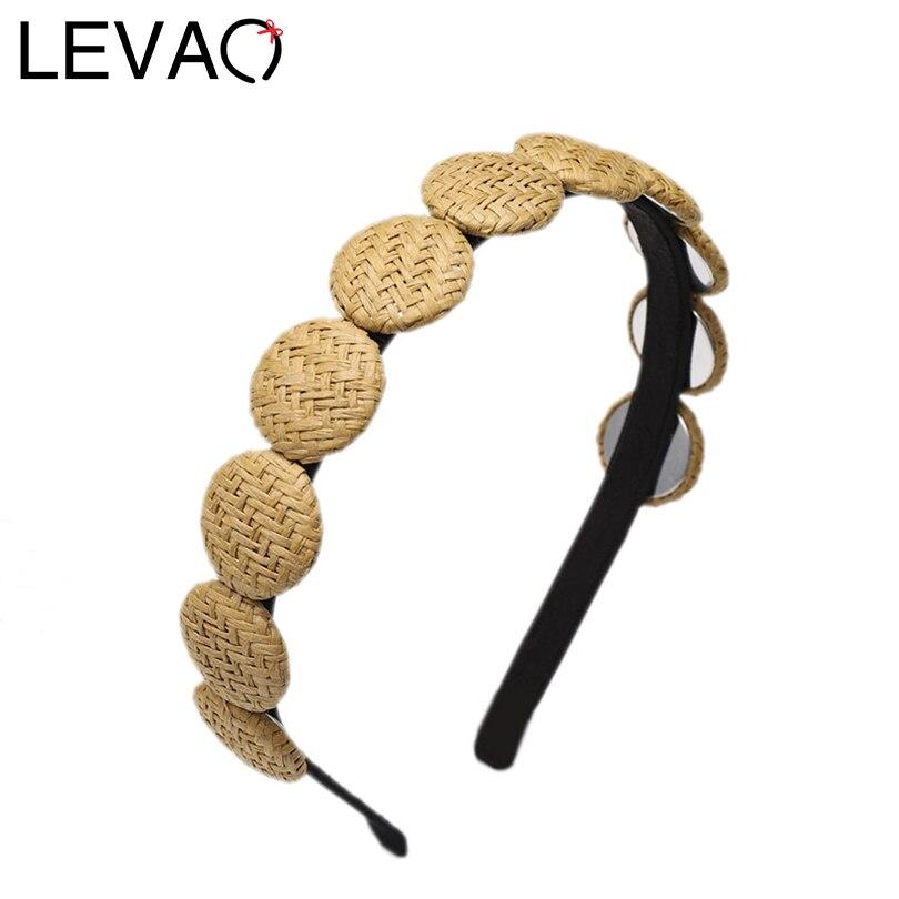 LEVAO Korean Style Straw Round Buckle Headband Fashion Hairband Bezel Turban Women Girls Hair Accessories Hair Hoop Wholesale