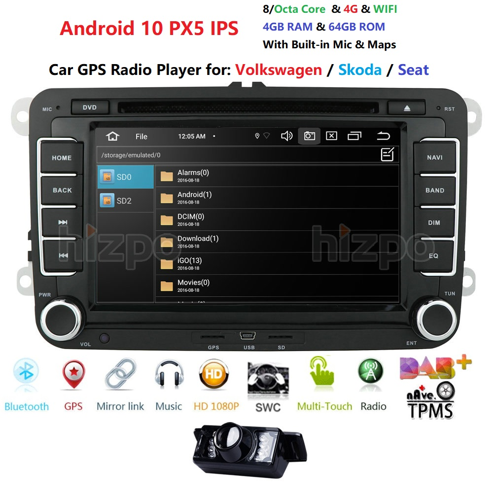 2 Din 7 Android 10 Car GPS Navigation DVD Auto Radio Player for VW POLO Passat Golf MK5 MK6 Jetta Touran Seat IPS DAB+ Camera image