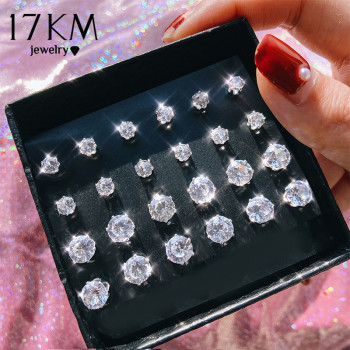 17KM Vintage Cubic Zirconia Round Stud Earrings Set For Women Silver Color Crystal Rhinestone Bow Earrings Brinco Jewelry