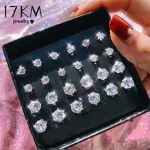 17KM 12 paia/set zirconi cubici rotondi orecchini Set per le donne colore argento cristallo strass orecchini arco gioielli Brinco