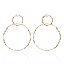 New Simple Trendy Gold Sliver Color Geometric Big Round Circle Earrings For Women Fashion Large Hollow Drop Jewelry