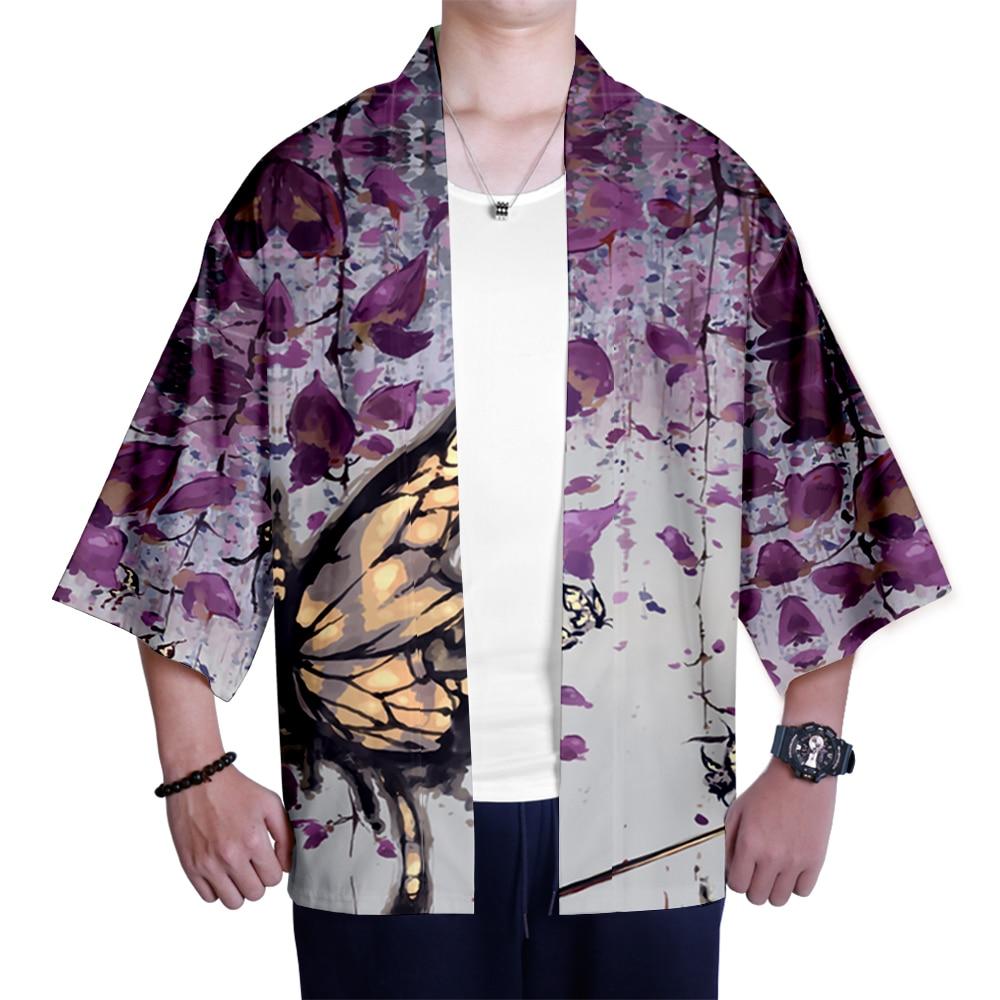 Demon Slayer Cartoon Print Kimono Shirt Casual Cardigan Streetwear Harajuku Japanese Fashion Blade Coat Jackets Asian Clothes