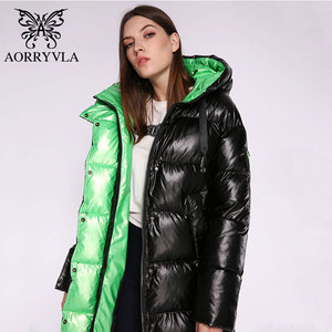 Image 1 - AORRYVLA Новая зимняя Женская куртка Толстая теплая длинная пуховая куртка Хлопковая женская парка Повседневная модная зимняя куртка женская с капюшоном 2020
