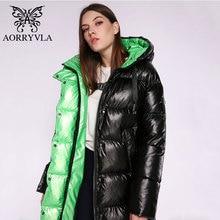 Aorryvla新冬の女性のジャケット厚く暖かいロングフグのコート綿女性パーカーカジュアルファッション冬のジャケットの女性フード付き 2020