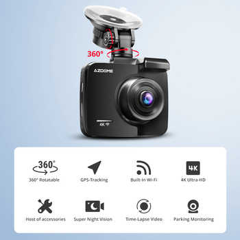 AZDOME GS63H Dashcam Dual Lens 4K Car Camera Built-In GPS Wi-Fi Front and Rear Dash Cam G-Sensor Motion Detection