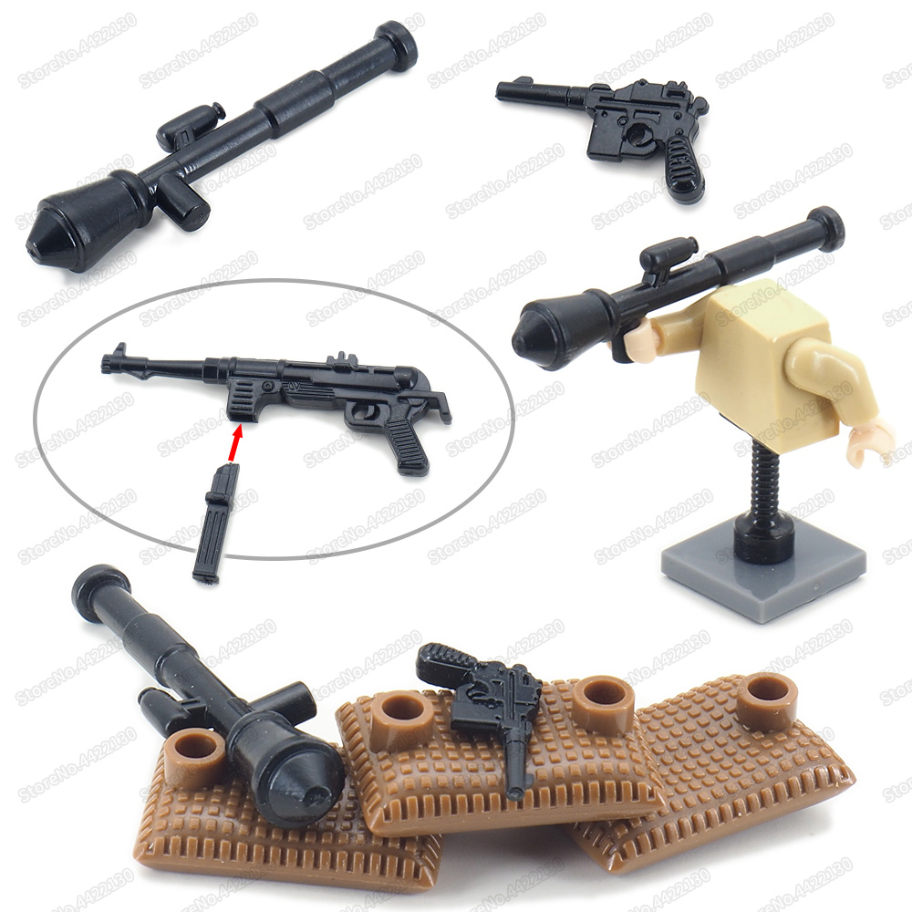 3 minifigures ww2 panzer crew tank soldier german ww2 brick block moc gun mp40