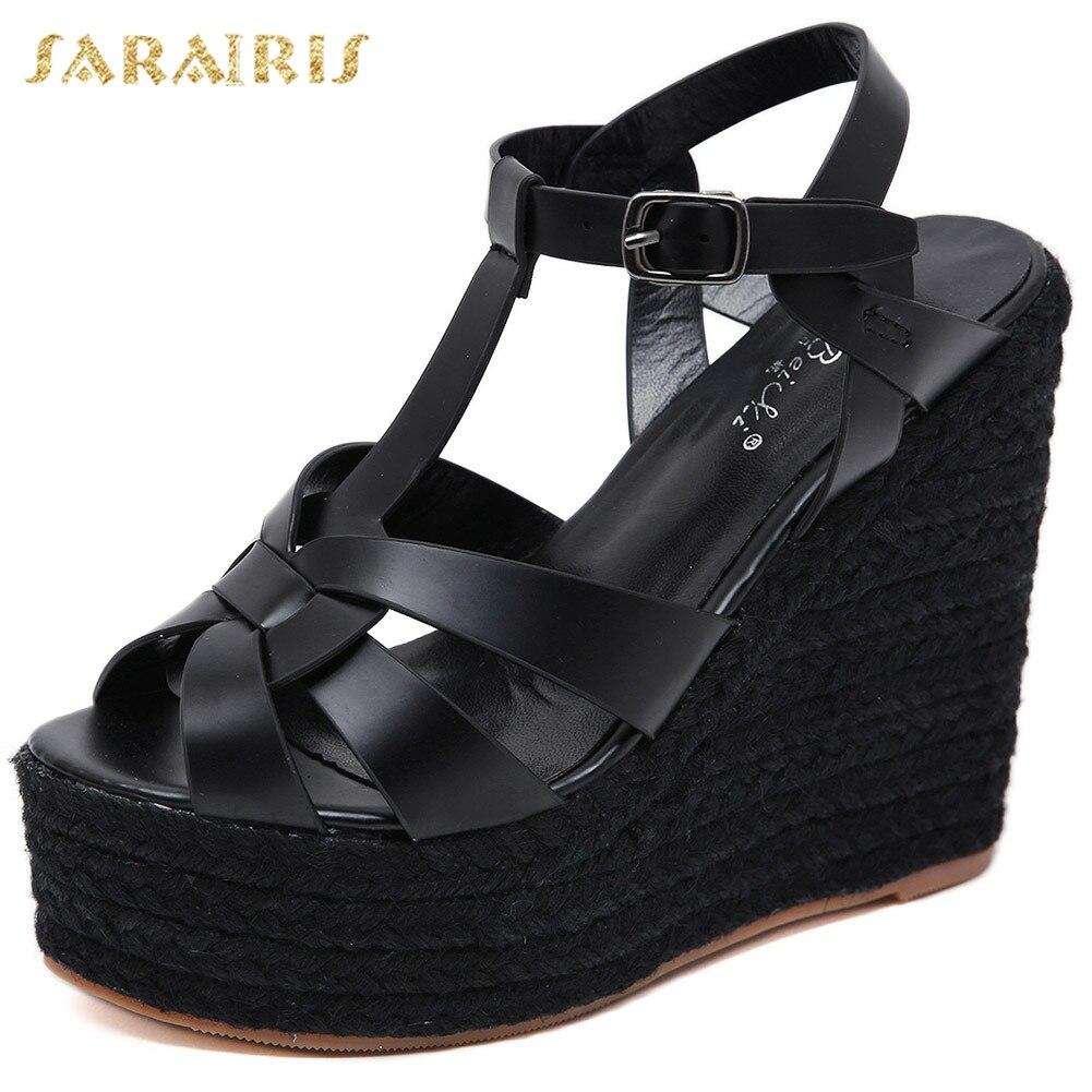 Sarairis Fashion Sale Brand Design Straw Platform High Heels Summer Wedges Sandals women's Shoes Woman
