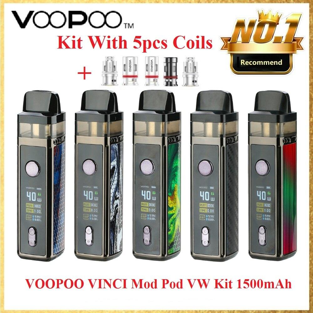 Original VOOPOO VINCI Mod Pod Vape Kit With 5pcs Coils 1500mAh Battery  5.5ml Pod & New GENE.AI Chip E-cig Vape Kit Vs Vinci Air