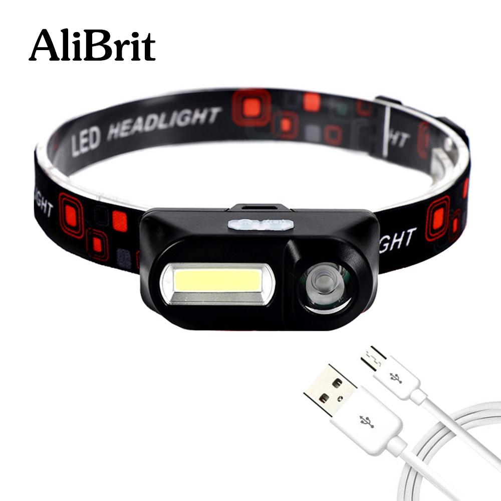 D20 AliBrit Portable Mini XPE+COB LED Headlamp USB Charging Outdoor Camping Fishing Headlights Flashlight Torch Head Light Lamp