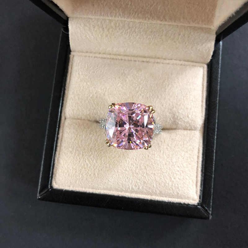 高級 AAAAA 正方形ジルコン S925 シルバーの結婚指輪ピンク黄白色ビッグ cz 婚約指輪サイズ 5 -12 ジュエリー