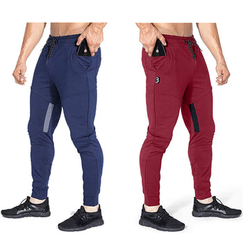 Casual pants mens sports solid color autumn men jogging fitness brand multi-function compression
