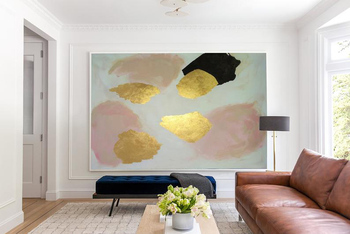 Stained Soil Large Wall Art Abstract Acrylic Painting Oversize Painting Gold Leaf Painting Canvas Painting Modern Home Decor