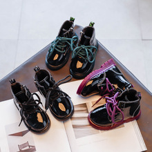 Fashion Boots Shoes Girls Kids Black Children's New Autumn Hot Bright Patent