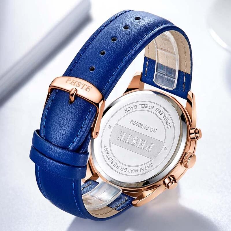 Image 5 - PHSTE Brand Luxury Men Watch Quartz Chronograph Moon Phase Date Waterproof Genuine Leather Blue Rose Gold Male Sport Wrist WatchQuartz Watches   -