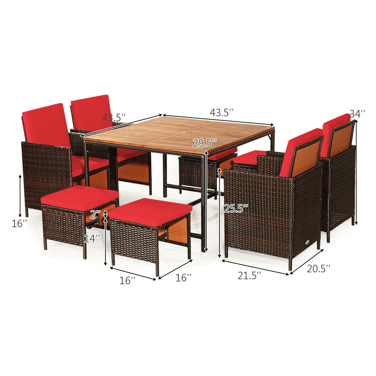 9pcs patio rattan dining set cushioned chairs ottoman wood table top outdoor hw65997