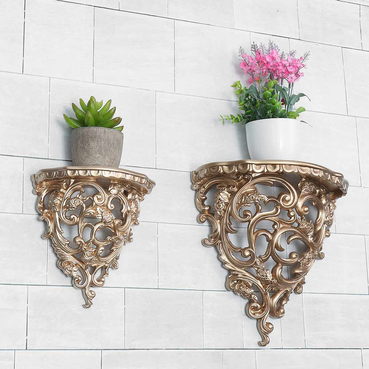 Baroque Style Decorative Shelves For Living Room  Ornament Flowers Wall Hanging Storage Rack European Style Decor Home Cafe
