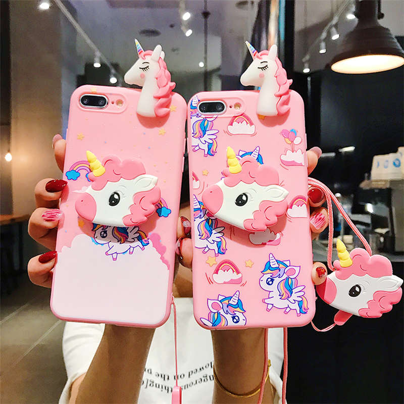 Cartoon Pink Unicorn Soft Case For Vivo Y85 Y55 Y66 Y71 Y75 Y79 Y83 Y91 Y95 Y93 Y97 X27 V15 Pro Y17 Z5X V11i Stand Lanyard Cover