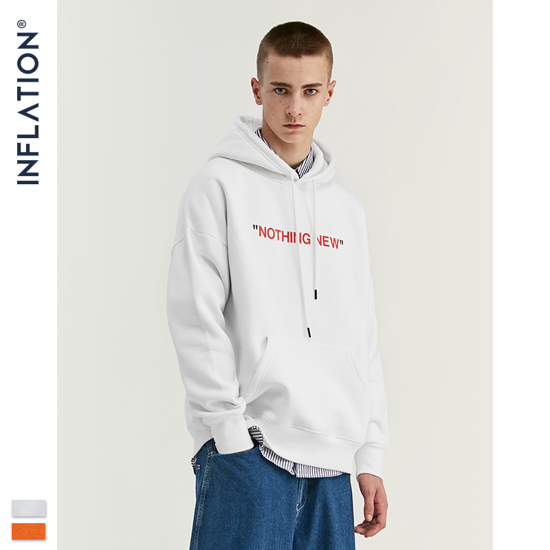 INFLATION Men Letter Print Fleece Hoodie 2020 FW Casual Unisex Loose Fit Hoodie Streetwear Men Cotton Warm Hip Hop Hoodie 529W17