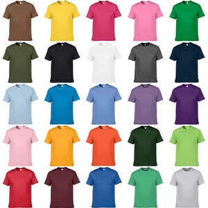 Mens Tops Clothing Tees T-Shirts GILDAN Slim-Fit Solid-Color Cotton Casual Euro-Size