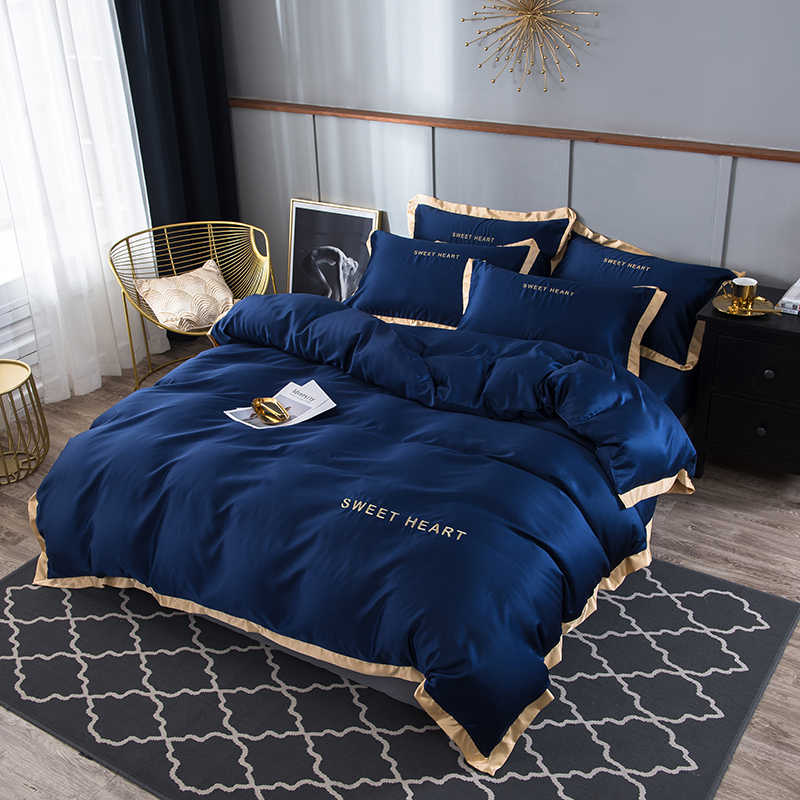 100%silk Embroidered bedding set duvet cover set 4pc Home Textile Queen size  bedclothes duvet cover  sheet pillowcases Wholesal