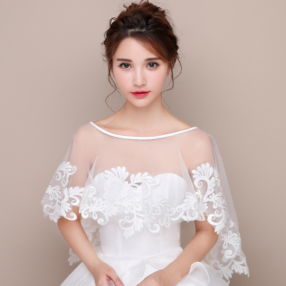 Women Ivory Wedding Bridal Cape Applique Elegant Soft Formal Tulle Evening Prom Cape High Low Retro Special Lace Shawl Accessory