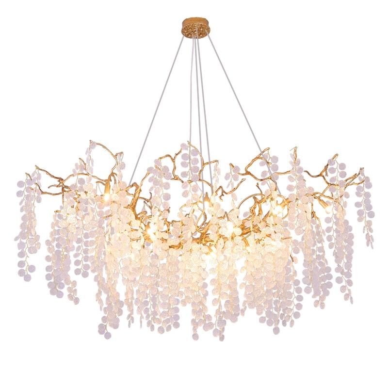 Işıklar ve Aydınlatma'ten Kolye ışıkları'de G9 LED Postmdern bakır cam asılı lambalar altın temizle işıklar. kolye lamba. yemek odası fuaye için ışık title=