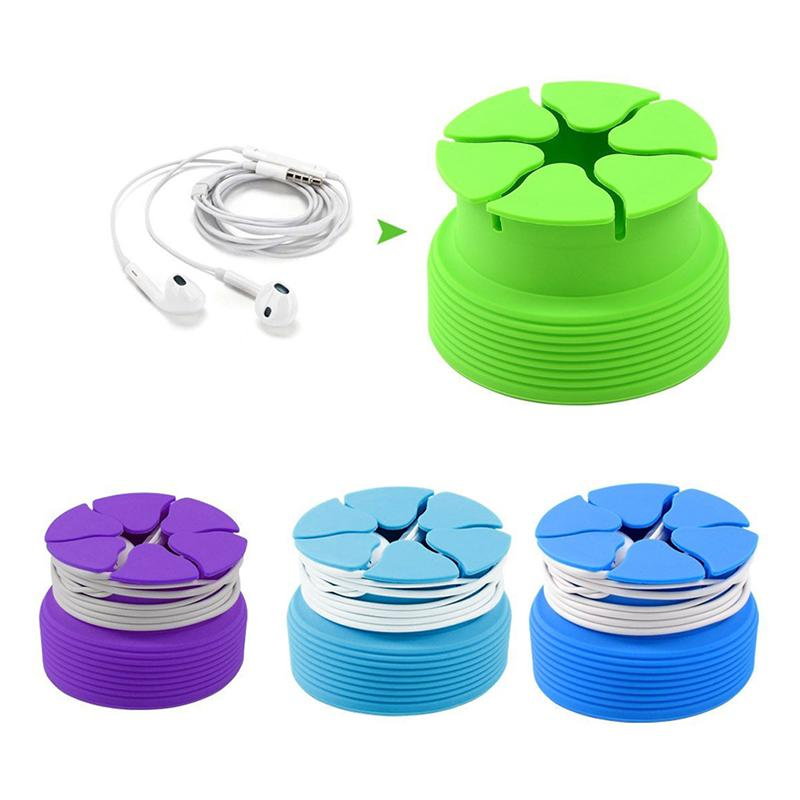 Office Storage Cord-Organizer Headphone-Box Foldable Silicone Case Container Data-Line
