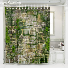 3D Stone Bricks Shower Curtains Bathroom Curtain Seaweed Green Bohemian Fabric Bath Large cortinas de bano douchegordijn