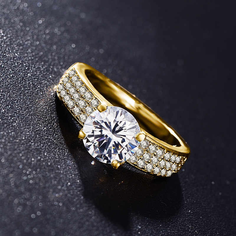 Yanhui と 18 18k スタンプ 4 爪 2 カラットのキュービックジルコニアウェディング/婚約指輪女性のための 18 18k ゴールド色女性のリングファインジュエリー