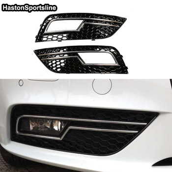 Black With Chrome Honeycomb Front Bumper Fog Lights Cover Fog lamp Trim Part for Audi A4 S4 RS4 B9 2013 2014 2015